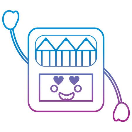 potloden in vak karakter vector illustratie blauw en paars lijnontwerp
