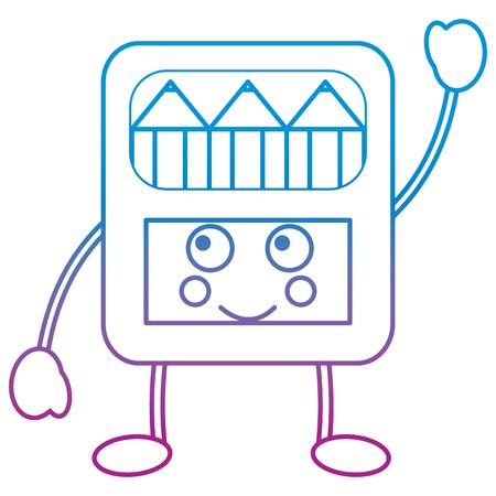 Potloden in doos kawaii karakter vector illustratie blauw en paars lijnontwerp