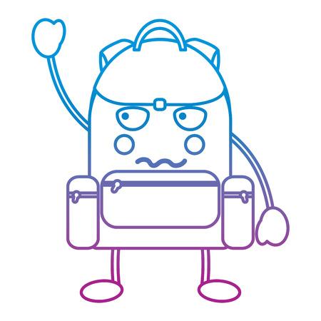 Schulrucksack-Cartooncharakter-Vektorillustration blaue und purpurrote Linie Design Standard-Bild - 93482856
