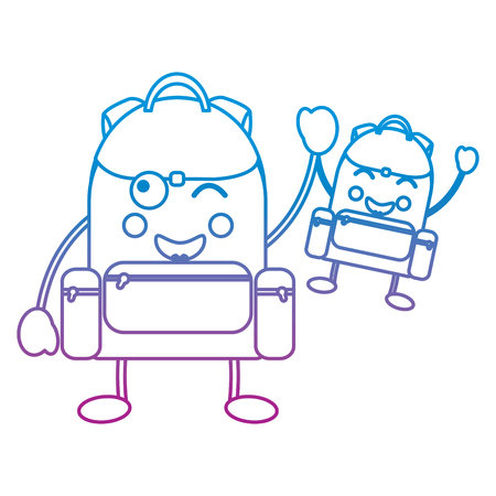 cartoon pair school backpack  character vector illustration blue and purple line design