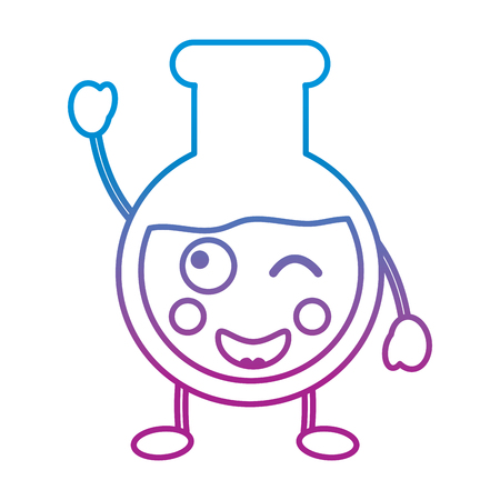 laboratory flask glass cartoon vector illustration blue and purple line design