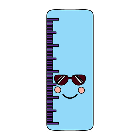 ruler with sunglasses school supplies icon image vector illustration design