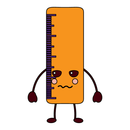 ruler angry school supplies kawaii icon image vector illustration design