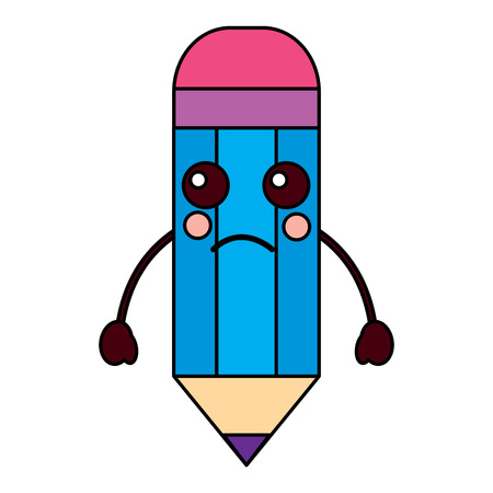 Pencil sad school supplies kawaii icon image vector illustration design
