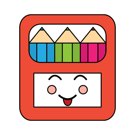 happy colored pencils box school supplies kawaii icon image vector illustration design