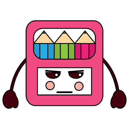 angry colored pencils box school supplies kawaii icon image vector illustration design