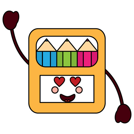 colored pencils box heart eyes school supplies kawaii icon image vector illustration design