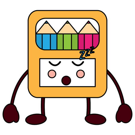 colored pencils box sleep school supplies  icon image vector illustration design