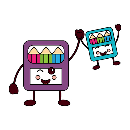colored pencils boxes school supplies  kawaii icon image vector illustration design