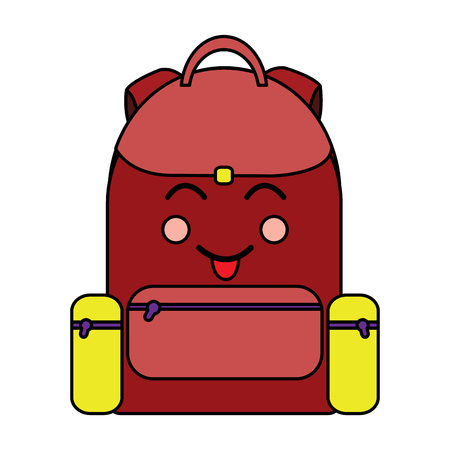 happy backpack school supplies  icon image vector illustration design