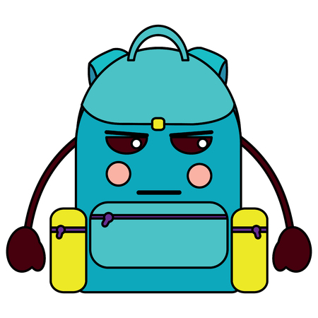 angry backpack school supplies  icon image vector illustration design Illustration
