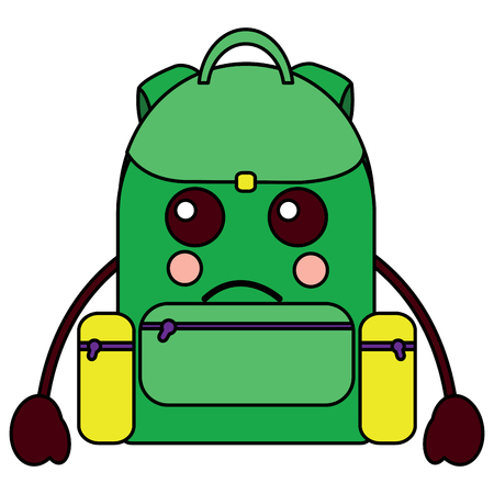 sad backpack school supplies  icon image vector illustration design