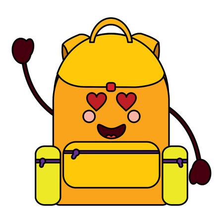 backpack heart eyes school supplies icon image vector illustration design Illustration