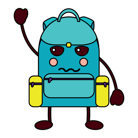 angry backpack school supplies icon image vector illustration design Stock Vector - 93484456