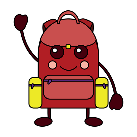 happy backpack school supplies icon image vector illustration design Illustration