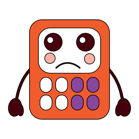 calculator math character cartoon vector illustration Illustration