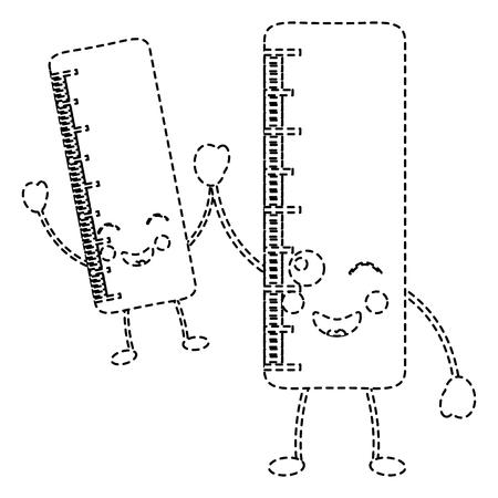 ペアスクール定規コミックキャラクターベクトルイラストステッカーデザイン