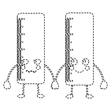 ペアスクール定規コミックキャラクターベクトルイラストステッカーデザイン 写真素材 - 93486360