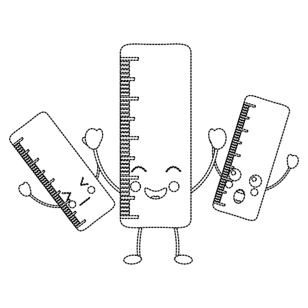 Três governantes de escola, ilustração em vetor kawaii personagem cômico Foto de archivo - 93484618