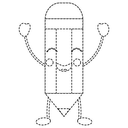 Wooden pencil cute kawaii cartoon vector illustration sticker design.