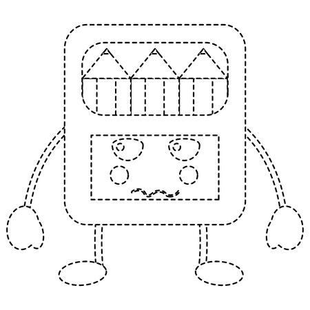 pencils in box character vector illustration sticker design