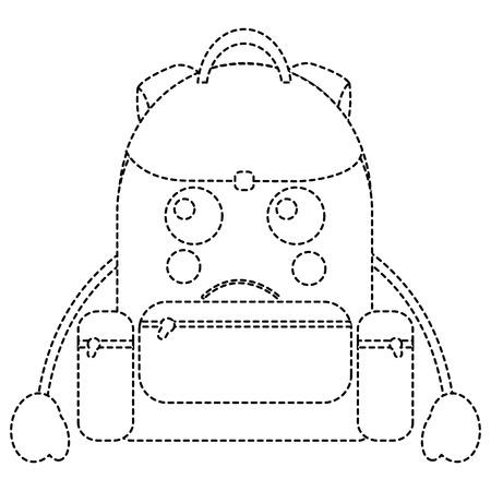 Traurige Rucksackschulbedarfikonenbildvektor-Illustrationsdesignschwarzpunktierte linie Standard-Bild - 93485063