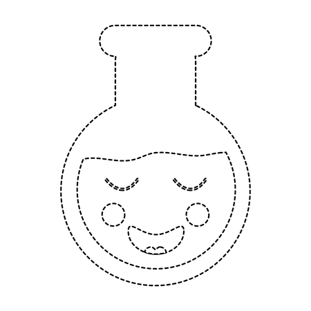 happy flask laboratory  icon image vector illustration design black dotted line 向量圖像