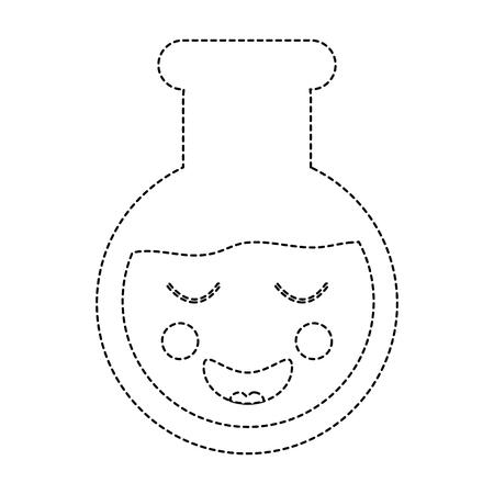 happy flask laboratory  icon image vector illustration design black dotted line Illustration