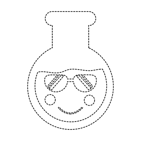 flask sunglasses laboratory icon image vector illustration design black dotted line