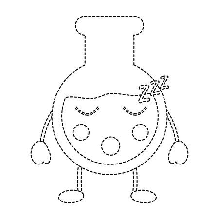 flask sleep laboratory icon image vector illustration design black dotted line