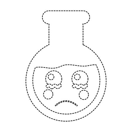 sad flask laboratory icon image vector illustration design black dotted line