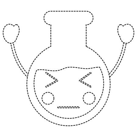 Angry laboratory flask kawaii icon image vector illustration design black dotted line