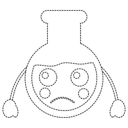 Sad laboratory flask kawaii icon image vector illustration design black dotted line