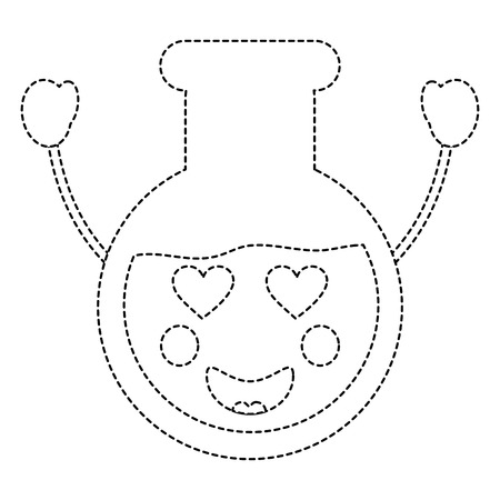 flask heart eyes laboratory icon image vector illustration design black dotted line