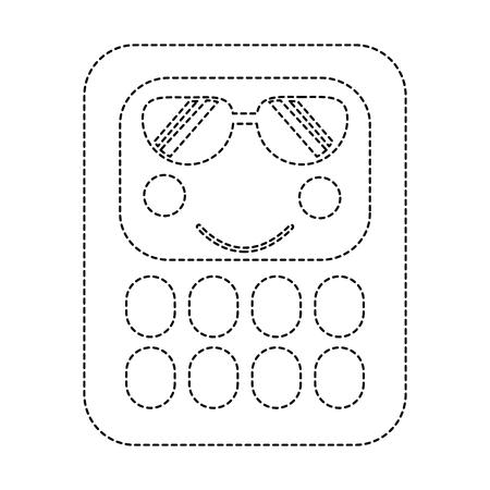 Calculator with sunglasses school supplies kawaii icon image vector illustration Ilustracja