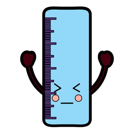 Ruler sad school supplies icon image. Vector illustration design.
