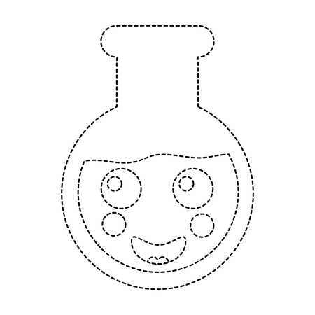 Happy flask laboratory icon image. Vector illustration design black dotted line. Illustration