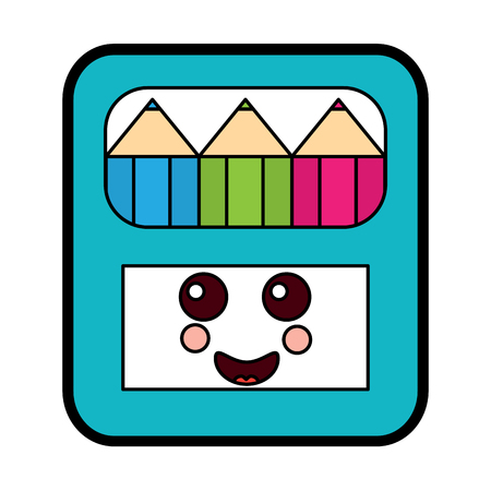 Pencils in box character vector illustration.