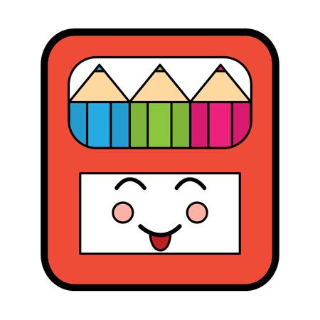 Pencils in box kawaii character vector illustration.