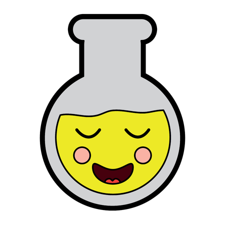 Laboratory flask glass cartoon vector illustration.