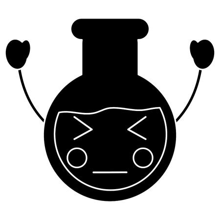 angry flask laboratory kawaii icon image vector illustration design