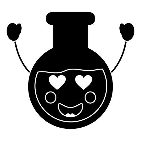 flask heart eyes laboratory kawaii icon image vector illustration design Ilustração