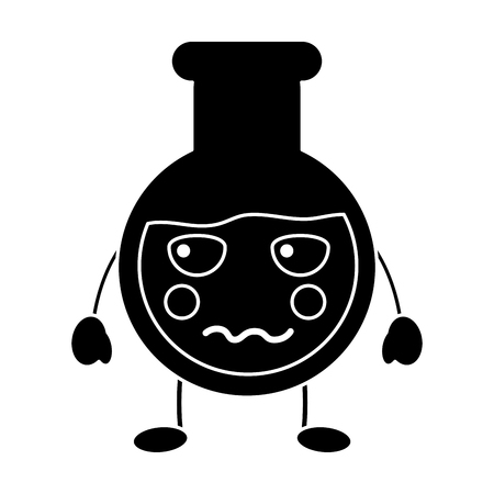 angry flask laboratory kawaii icon image vector illustration design