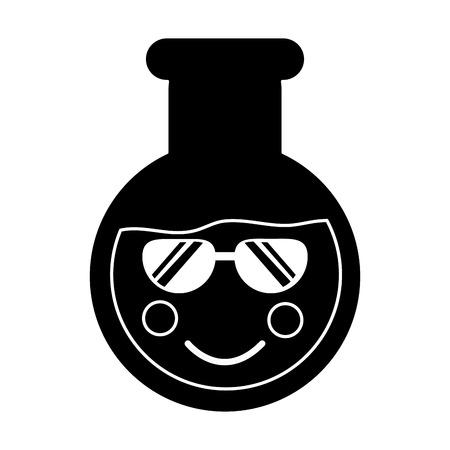 flask sunglasses  laboratory kawaii icon image vector illustration design