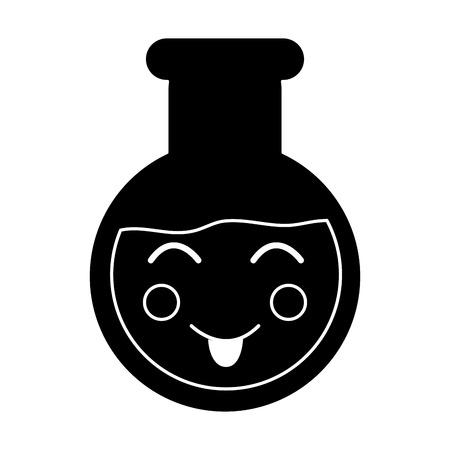 happy flask laboratory kawaii icon image vector illustration design