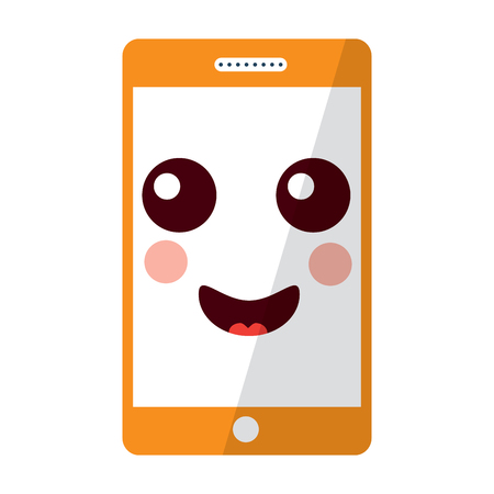 happy cellphone kawaii icon image vector illustration design