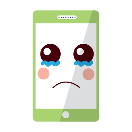 sad cellphone kawaii icon image vector illustration design