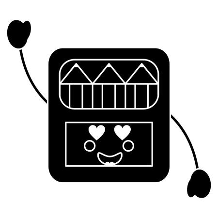 colored pencils box heart eyes school supplies icon image vector illustration design