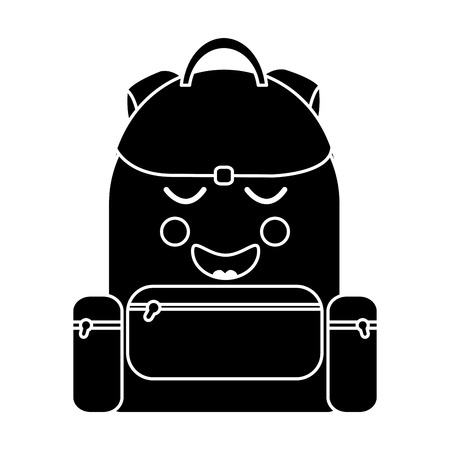 Happy backpack school supplies kawaii icon image vector illustration design.