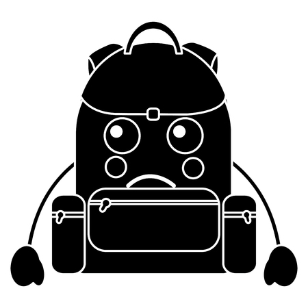 sad backpack school supplies   icon image vector illustration design Illustration